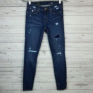 J Crew Toothpick Distressed Dark Wash Miller Jeans